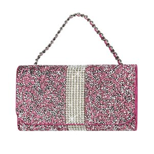 HORIZONTAL DIAMONDS POUCH IPHONE 6 PLUS/ 6S PLUS/ 7 PLUS/ SAMSUNG GALAXY S8 EDGE IN PINK (6.62X3.46X0.68INCHES PLUS)