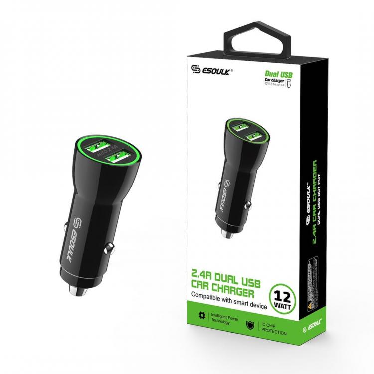 12W 2.4A Dual USB Car Adapter In Black