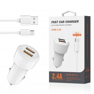 Reiko Micro Portable Car Charger With Built In 3 Ft Cable In White