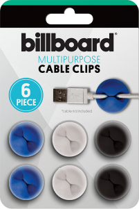 BILLBOARD 6 PK Adhesive cable clips
