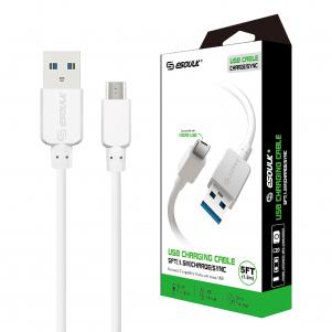 5ft Round Cable For Micro USB 1.5A In White