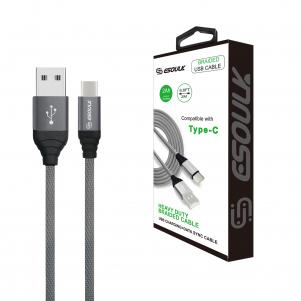 Canvas Cable 6.6ft  For Type-C In Gray
