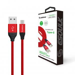 Canvas Cable 6.6ft  For Type-C In Red