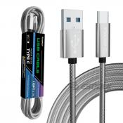 1.7A 10FT USB Cable For Type-C In Silver