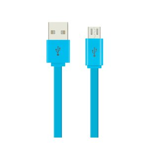 REIKO FLAT MICRO USB DATA CABLE 3.2FT IN BLUE