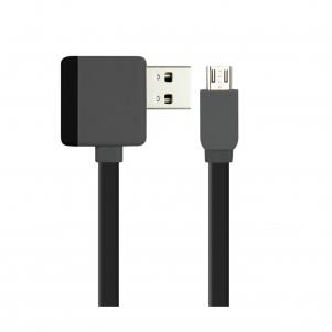 REIKO MICRO USB PIGGYBACK FLAT LIBERATOR USB CABLE 3.2FT IN BLACK