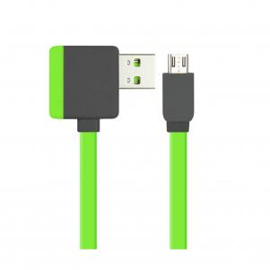 REIKO MICRO USB PIGGYBACK FLAT LIBERATOR USB CABLE 3.2FT IN GREEN