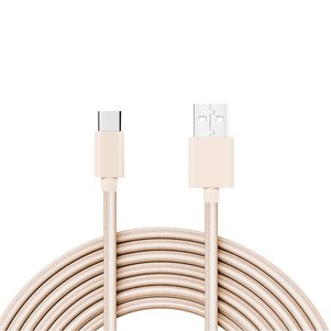 Reiko 3.3FT Metal Connector & Nylon Braided Type C USB 2.0 Data Cable In Gold