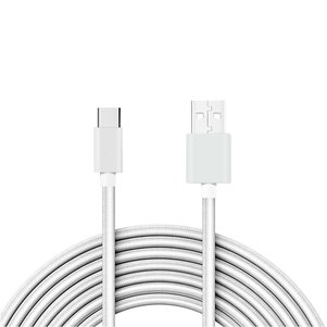 Reiko 3.3FT Metal Connector & Nylon Braided Type C USB 2.0 Data Cable In White