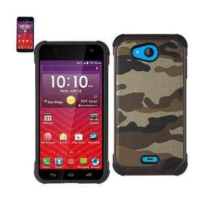 REIKO KYOCERA HYDRO WAVE HYBRID LEATHER CAMOUFLAGE CASE IN ARMY BROWN