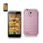 REIKO ALCATEL ONE TOUCH CONQUEST HYBRID HEAVY DUTY JEWELRY DIAMOND CASE IN WHITE PINK