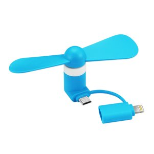 MINI FAN 2-IN-1 FOR IPHONE/ IPAD AND ANDROID IN BLUE