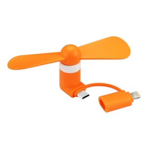 MINI FAN 2-IN-1 FOR IPHONE/ IPAD AND ANDROID IN ORANGE
