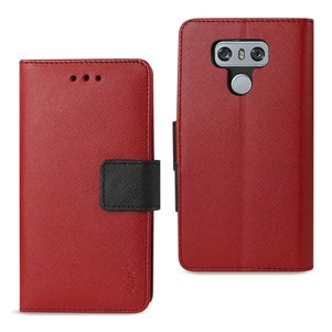 REIKO LG G6 3-IN-1 WALLET CASE IN RED