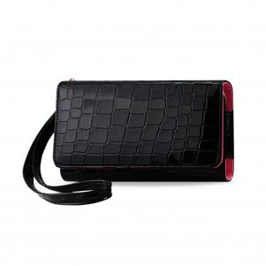 REIKO CROCODILE PATTERN PURSE WALLET CASE SAMSUNG GALAXY NOTE3/NOTE2 BLACK (6.3X2.9X0.5 INCHES)
