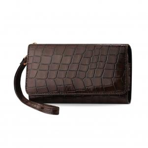 REIKO CROCODILE PATTERN PURSE WALLET CASE SAMSUNG GALAXY NOTE3/NOTE2 BROWN (6.3X2.9X0.5 INCHES)