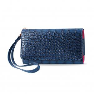 REIKO CROCODILE PATTERN PURSE WALLET CASE SAMSUNG GALAXY NOTE3/NOTE2 NAVY (6.3X2.9X0.5 INCHES)