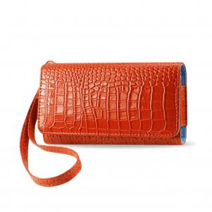 REIKO CROCODILE PATTERN PURSE WALLET CASE SAMSUNG GALAXY S4/IPHONE5S IN ORANGE (5.6X2.7X0.5 INCHES)