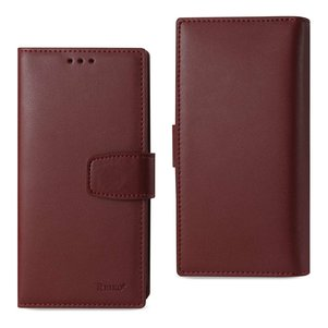 REIKO IPHONE 7 PLUS GENUINE LEATHER WALLET CASE WITH RFID CARD PROTECTION IN BUNGUNDY