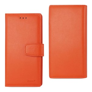 REIKO IPHONE 7 PLUS GENUINE LEATHER WALLET CASE WITH RFID CARD PROTECTION IN TANGERINE
