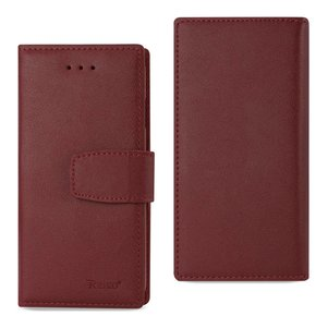 REIKO IPHONE 7 GENUINE LEATHER WALLET CASE WITH RFID CARD PROTECTION IN BUNGUNDY