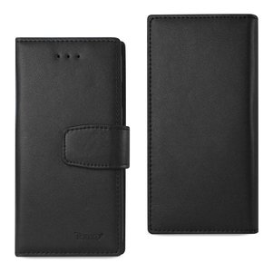 REIKO IPHONE 7 GENUINE LEATHER WALLET CASE WITH RFID CARD PROTECTION IN BLACK