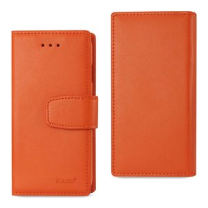 Reiko iPhone 8/ 7 Genuine Leather Wallet Case With RFID Card Protection In Tangerine