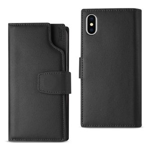 Reiko iPhone X Genuine Leather Wallet Case With Open Thumb Cut In Black