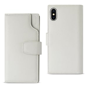 Reiko iPhone X/iPhone XS Genuine Leather Wallet Case With Open Thumb Cut In Ivory