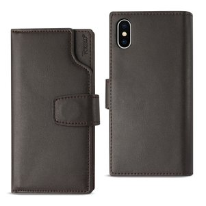 Reiko iPhone X Genuine Leather Wallet Case With Open Thumb Cut In Umber