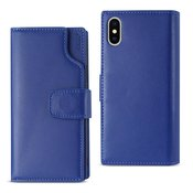 Reiko iPhone X Genuine Leather Wallet Case With Open Thumb Cut In Ultramarine