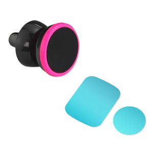 REIKO UNIVERSAL AIR VENT MAGNETIC CAR MOUNT PHONE HOLDER IN BLACK HOT PINK