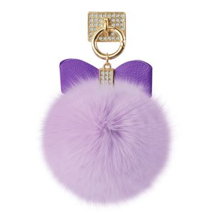 REIKO PHONE HOLDER/ FINGER LOOP GRIP WITH RHINESTONE SOFT PUFFY FUR BALL IN LIGHT PURPLE