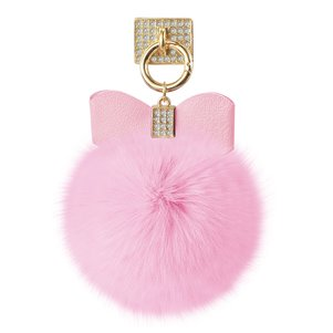 REIKO PHONE HOLDER/ FINGER LOOP GRIP WITH RHINESTONE SOFT PUFFY FUR BALL IN PINK