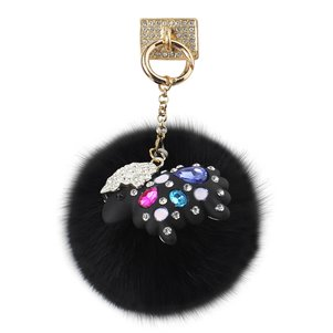 REIKO PHONE HOLDER/ FINGER LOOP GRIP WITH RHINESTONE SHEEP PENDANT SOFT PUFFY FUR BALL IN BLACK