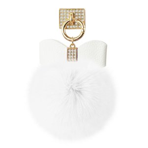 REIKO PHONE HOLDER/ FINGER LOOP GRIP WITH RHINESTONE SOFT PUFFY FUR BALL IN WHITE