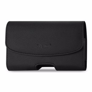 Reiko Leather Horizontal Phone Pouch With Embossed Logo In Black (7.0X3.9X0.7 Inches)