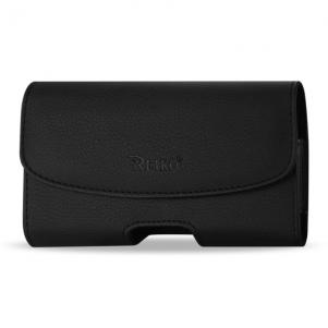 Reiko Leather Horizontal Phone Pouch With Embossed Logo In Black (5.2X3.0X0.8 Inches)