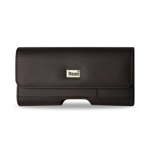 Reiko Horizontal Leather Pouch With Card Holder In Brown (5.6X2.8X0.4 Inches)