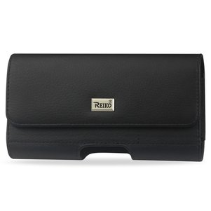 Reiko Horizontal Leather Pouch Samsung Note3/ N7100 / S8 With Card Holder In Black (6.1X3.27X0.48 Incheses Slim)