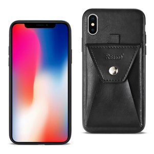 Reiko iPhone X/iPhone XS Durable Leather Protective Case With Back Pocket In Black