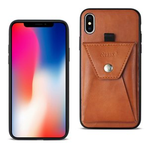 Reiko iPhone X/iPhone XS Durable Leather Protective Case With Back Pocket In Brown