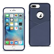 APPLE IPHONE 8 PLUS TPU Leather feel Case Leather Fit Flexible Slim Premium Case in Blue