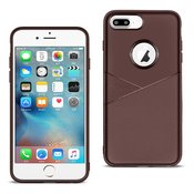 APPLE IPHONE 8 PLUS TPU Leather feel Case Leather Fit Flexible Slim Premium Case in Brown