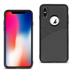 APPLE IPHONE X/XS TPU Leather feel Case Leather Fit Flexible Slim Premium Case in Black