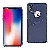 APPLE IPHONE X/XS TPU Leather feel Case Leather Fit Flexible Slim Premium Case in Blue