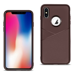 APPLE IPHONE X/XS TPU Leather feel Case Leather Fit Flexible Slim Premium Case in Brown
