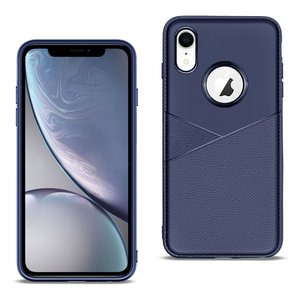 APPLE IPHONE XR TPU Leather feel Case Leather Fit Flexible Slim Premium Case in Blue
