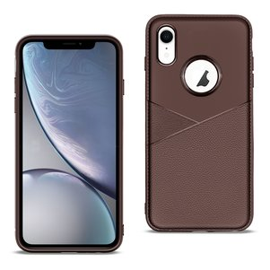 APPLE IPHONE XR TPU Leather feel Case Leather Fit Flexible Slim Premium Case in Brown
