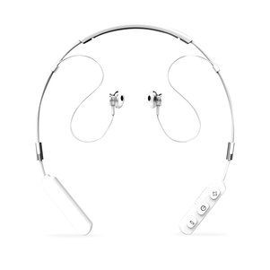 Neck Band Sport Bluetooth Earphones in White  and Silver